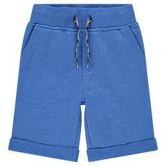 Bermudas de felpa lisa con bolsillos