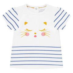 Camiseta de manga corta a rayas con gato estampado