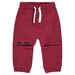 Pantalón de chándal de felpa con cortes en las rodillas y personajes estampados