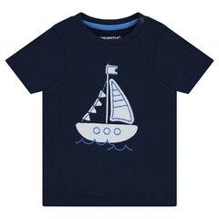Camiseta de manga corta con barco cosido