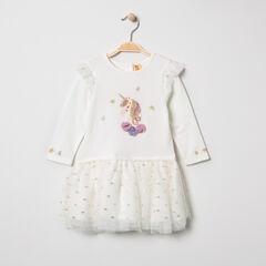 Vestido de manga larga de dos materiales con unicornio brillante y tul.