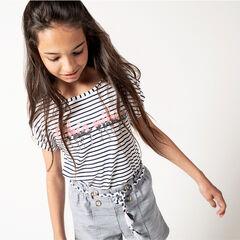 Júnior - Camiseta de manga corta a rayas con inscripciones de lentejuelas
