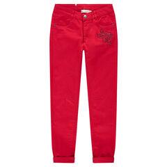Júnior - Pantalón rojo liso con corte slim y flor de strass