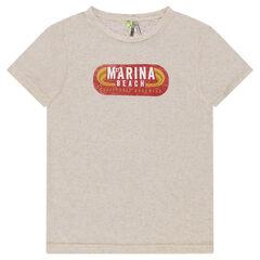 Júnior - Camiseta de manga corta jaspeada con estampado retro