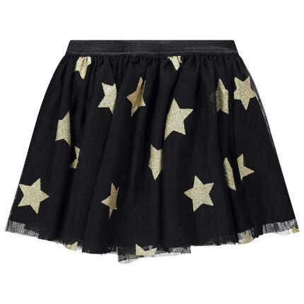 Jupe en tulle doublée à étoiles dorées pailletées
