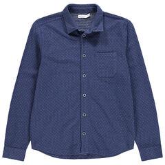 Júnior - Camisa de manga larga de punto piqué con bolsillo