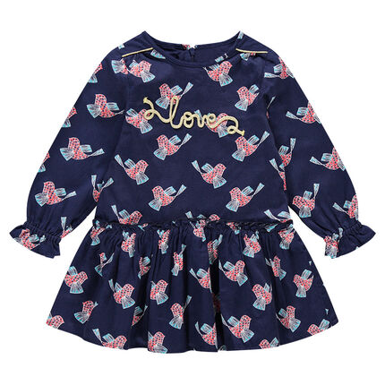 Vestido de manga larga de raso de algodón con pájaros all-over