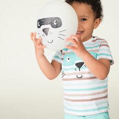 Camiseta de manga corta de rayas con animal estampado con máscara