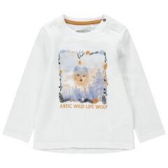 Camiseta de manga larga de punto de fantasía con zorro estampado