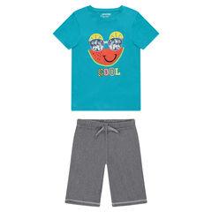 Júnior - Pijama de punto y estampado de fantasía y bermudas de muletón ligero