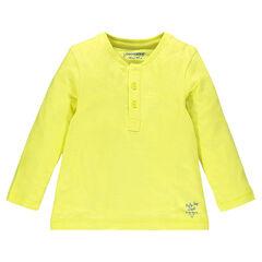 Camiseta con cuello tunecino manga larga de color liso