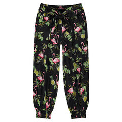 Pantalón fluido estilo sarouel con dibujo tropical all over