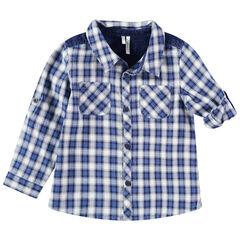 Camisa de cuadros con bolsillos y aplicaciones vaqueras