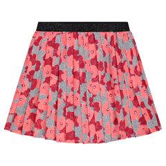 Falda plisada de crepé con estampado de flores