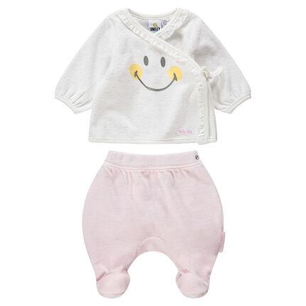 Pijama de terciopelo bicolor con ©Smiley