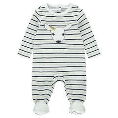 Pijama de terciopelo con rayas all over y pavo real bordado