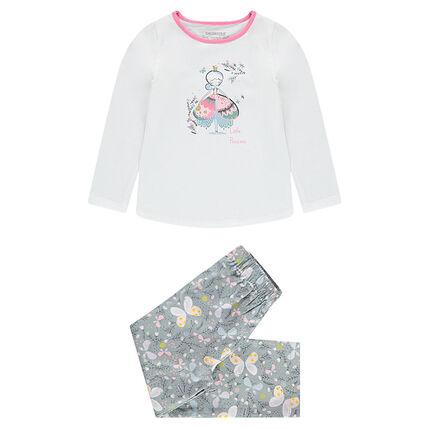 Pijama de punto con princesa estampada y mariposa all over