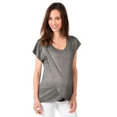 Camiseta de manga corta de punto de fantasía mezclado con lúrex