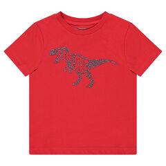 Camiseta de manga corta roja con dinosaurio estampado