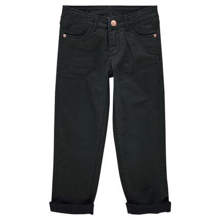 Pantalón de sarga con efecto arrugado y forro de polar