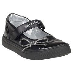 Zapatos merceditas Hello Kitty de color negro con lazo plateado