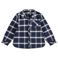 Júnior - Camisa de manga larga a cuadros de franela y con bolsillo