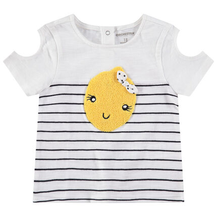Camiseta de manga corta de punto con hombros calados y limones de rizo