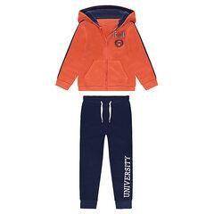 Chándal de felpa de  con chaqueta con capucha naranja y pantalón con estampado azul marino