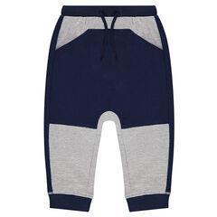 Pantalón de chándal de felpa bicolor