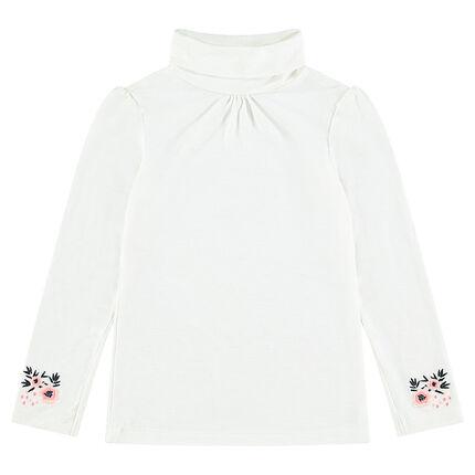 Camiseta de cuello alto con flores bordadas