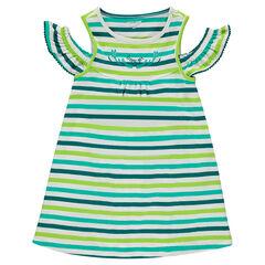 Vestido de algodón con rayas en contraste all-over y hombros calados