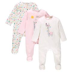 Pack de 3 pijamas de algodón con apertura que se adapta a cada edad.
