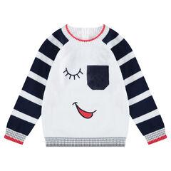 Jersey de punto con detalles bordados y bolsillo tipo parche