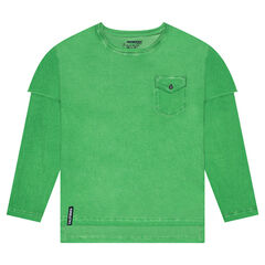 Júnior - Camiseta de manga larga de efecto 2 en 1 con bolsillo