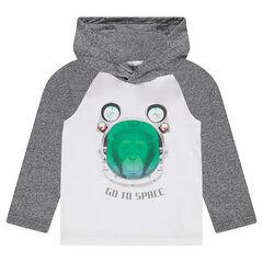 Camiseta de manga larga y capucha con mono estampado