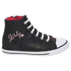 Zapatillas subidas negras con brillo y cordones elásticos y cremallera
