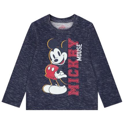 Camiseta de manga larga de punto jaspeado y estampado de Mickey Disney