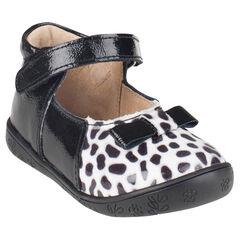 Bambas de cuero barnizado de color negro con leopardo
