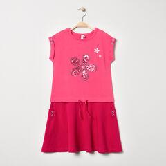 Vestido de manga corta con efecto 2 en 1 con flore de lentejuelas