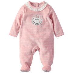 Pijama de terciopelo con Smiley estampado y cuello con volantes