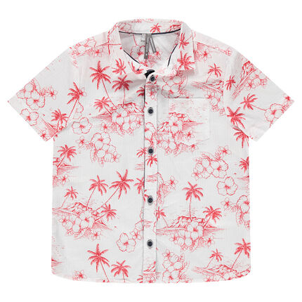 Camisa de manga corta con estampado tropical  rojo all-over