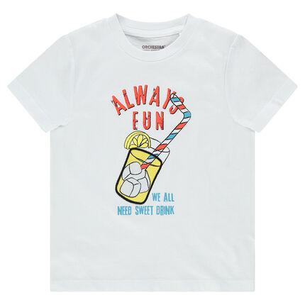 Camiseta de manga corta de punto con bebida estampada