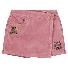Falda-shorts de terciopelo corto con motivo de cebra superpuesto en hilo brillante