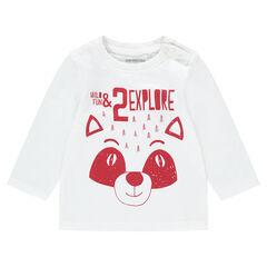 Camiseta de punto de manga larga con panda estampado