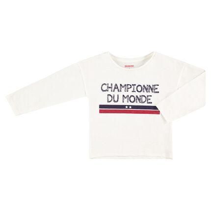 Camiseta de niña con 2 estrellas de manga larga COPA DEL MUNDO DE FÚTBOL 2018 - Francia