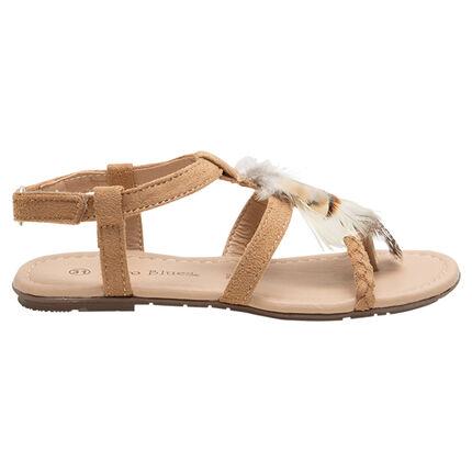 Sandalias con efecto de antelina y tira trenzada