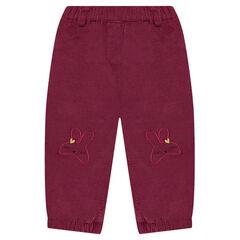 Pantalón de terciopelo con forro polar con conejitos bordados