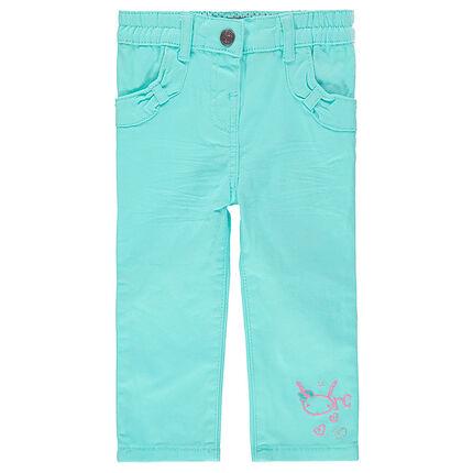 Pantalón slim con bolsillos con lazos