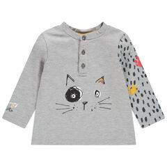Camiseta de manga larga con estampado de gato y manga estampada