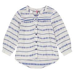 Camisa vaporosa con bordado ikat